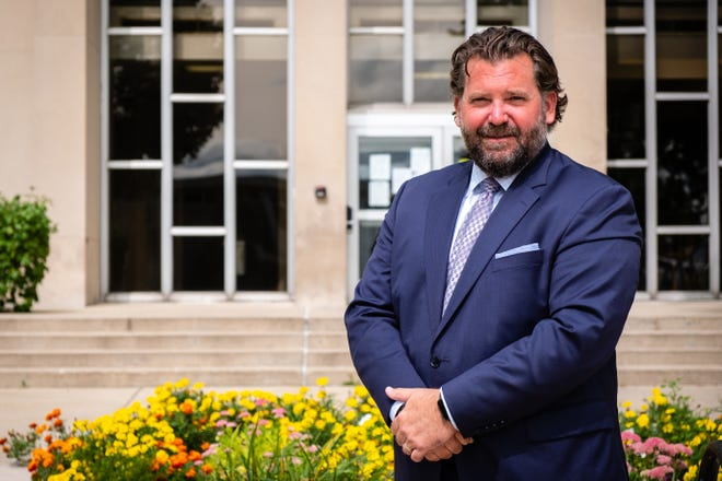 Former Marysville Mayor Dan Damman poses for a portrait Monday, Sept. 14, 2020, in front of the St. Clair County Courthouse in Port Huron. Damman is running for circuit court judge.