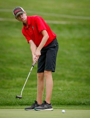 Ryan Thomas of Susquehannock putts on the 11th hole of the York-Adams Division II golf match at Honey Run Golf Club, Thursday, September 17, 2020.John A. Pavoncello photo
