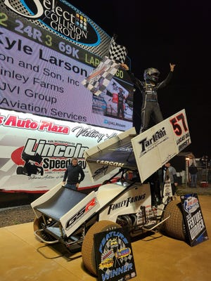 Kyle Larson is shown here after his Lincoln Speedway victory last Wednesday.