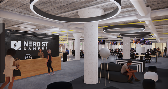 An artist rendering of Nerd St. Gamers headquarters inside the 'The Block.' The Block is a multi-faceted esports hub from Nerd. St. Gamers that will feature a broadcast studio, training rooms, retail space and both scholastic and competitive workshop spaces. The Block will be located at 401 N. Broad St. in the former Terminal Commerce Building in downtown Philadelphia.