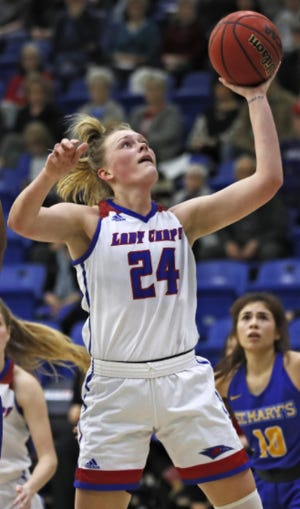 Lubbock Christian's Maddi Chitsey goes up for a shot against St. Mary's during the 2019-2020 season.