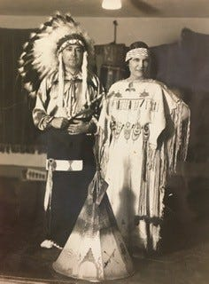 "Ernest and Olavene Thompson dress in Kaw regalia (part of Gilcrease collection). Ernest's story is told in ""The Girl Whose Grandfather was an Indian Chief"" by Joi Morgan, who won the adult division of the ""Finding Family"" writing contest."