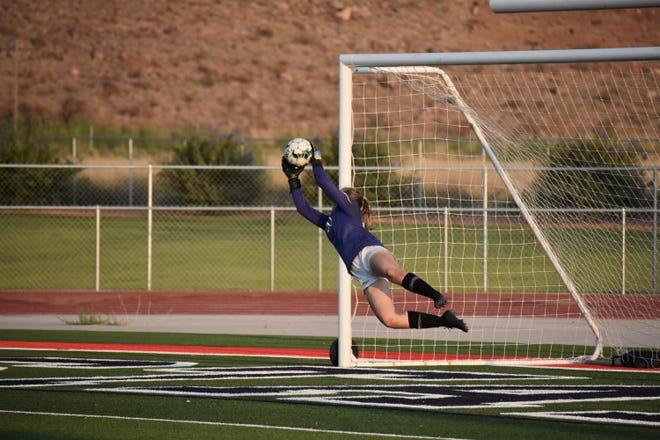 Desert Hills' goalie Kenna DeCastro (00) has four shutouts so far in 2020.