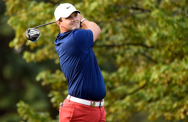 Sep 17, 2020; Mamaroneck, New York, USA; Patrick Reed plays his shot from the second tee during the first round of the U.S. Open golf tournament at Winged Foot Golf Club - West. Mandatory Credit: Danielle Parhizkaran-USA TODAY Sports