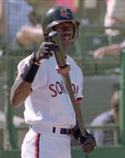 Michael Jordan, as a member of the Scottsdale Scorpions, prepares to bat against the Tempe Rafters in an Arizona Fall League game in 1994.