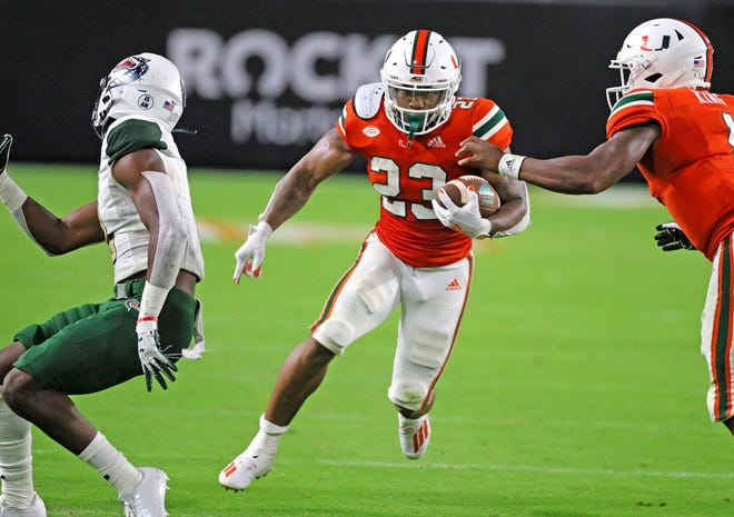 Cam'Ron Harris will look to continue his hot start to the 2020 season when the Canes take on the 'Noles on Saturday night.
