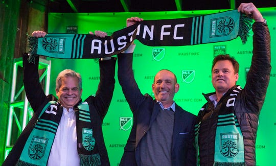 Austin mayor Steve Adler, MLS commissioner Don Garber and Austin FC chairman/CEO Anthony Precourt announce Austin FC as the newest MLS team on Jan. 15, 2019.