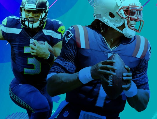 "Seahawks QB Russell Wilson and new Patriots QB Cam Newton square off on ""Sunday Night Football."""