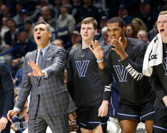 Villanova Wildcats head coach Jay Wright reacts with his players during the first half against the Xavier Musketeers at the Cintas Center.