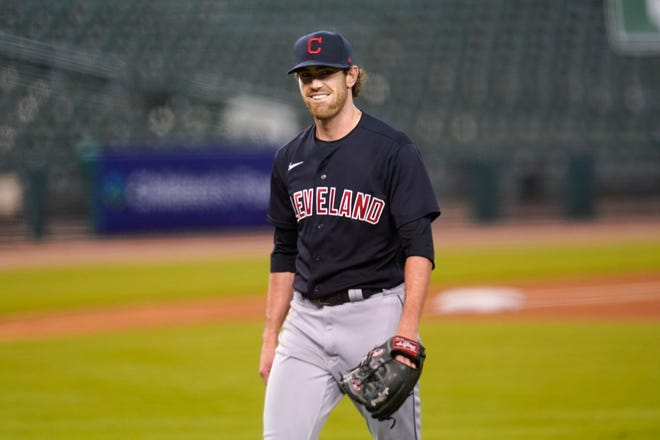 Cy Young Award-winning pitcher Shane Bieber was named the Professional Athlete of the Year during the 21st Greater Cleveland Sports Awards on Thursday night. [Paul Sancya/Associated Press]