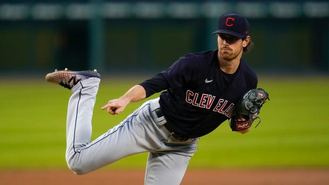 Cleveland Indians pitcher Shane Bieber throws against the Detroit Tigers in the second inning of a baseball game in Detroit, Thursday, Sept. 17, 2020. (AP Photo/Paul Sancya)