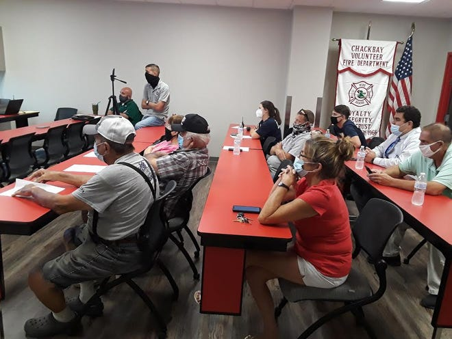 Residents gathered at the Chackbay Fire Department for a town hall meeting to discuss a proposed tax increase on the November ballot.