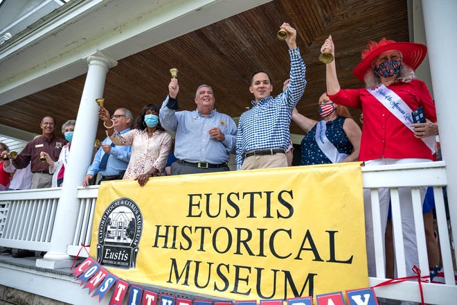 Eustis officials gather with the Daughters of the American Revolution Ocklawaha Chapter and State Representative Anthony Sabatini on Thursday to commemorate 233 years since the signing of the United States Constitution. [Cindy Peterson/Correspondent]
