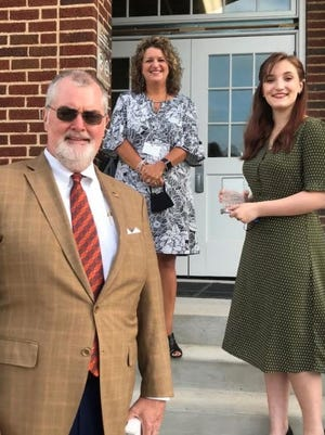 Kennedy Berry was selected as the YVRCA Student of the Month. Pictured are Steve Jackson, Edward Jones; Kim Welch, YVRCA principle; and Kennedy Berry.