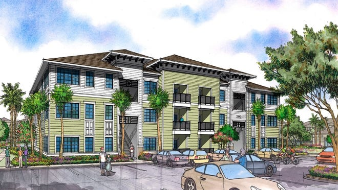A rendering shows what the apartment complex could look like as part of a proposed mixed-use development at the southeast corner of State Road 472 and Kentucky Avenue in Orange City.
