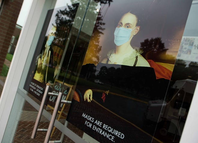 The Biggs Museum of American Art got creative with its new front-entrance posters after reopening its doors during the pandemic.