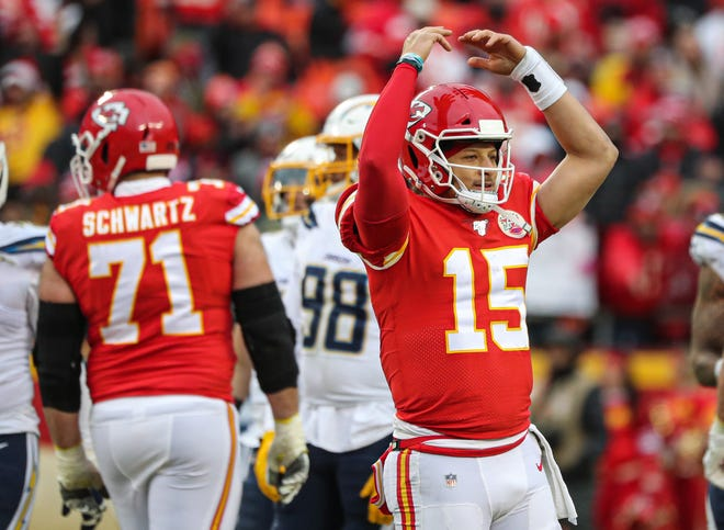 Kansas City Chiefs quarterback Patrick Mahomes (15) interacts with the crowd during a game against the Los Angeles Chargers last season. Mahomes and the Chiefs look to spoil the Chargers' debut in their brand new So-Fi Stadium in Los Angeles.