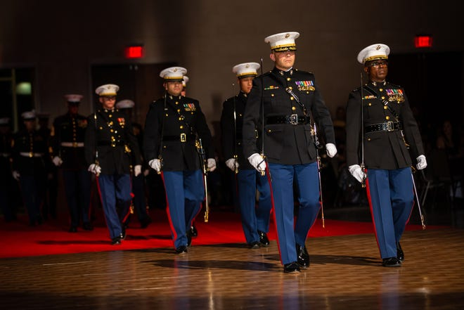 U.S. Marines participate in 2nd Marine Division's celebration of the 244th Marine Corps Birthday in Wilmington, NC, Dec. 12, 2019.