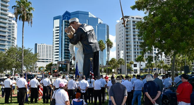 "A ceremony at the ""Unconditional Surrender"" statue in August."