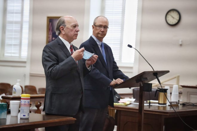 Fayetteville car dealer Mike Lallier, right, and his lawyer Paul V. Cannarella, appear in court in Bennettsville, South Carolina, on Friday, Sept. 18, 2020, where Lallier pleaded guilty to contributing to the delinquency of a minor. His plea was part of a deal in which a charge of third-degree criminal sexual conduct was dismissed.