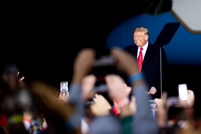 President Donald Trump arrives to his Make America Great Again event at Central Wisconsin Aviation, Thursday, Sept. 17, 2020, in Mosinee.