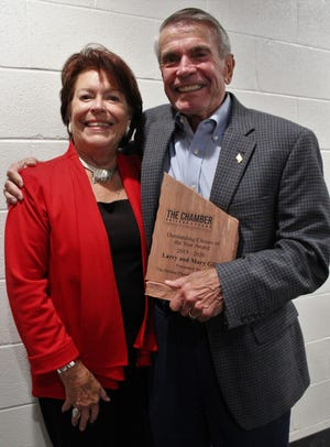 Mary and Larry Gill with their 2020 Outstanding Citizens of the Year award.