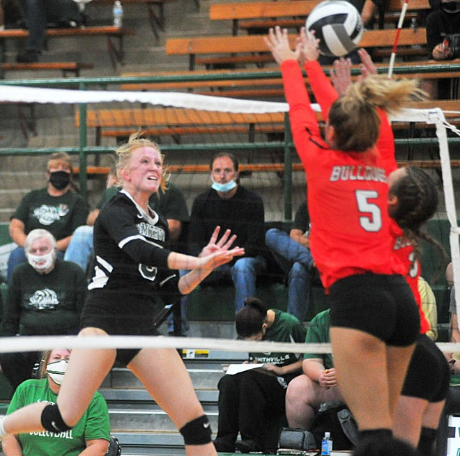 Brooke Fatzinger spikes the ball past Dalton's blockers. She finished with a team-high 23 kills.