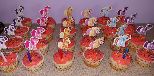 Birthday cupcakes made by Lovina Eicher's daughter and granddaughter
