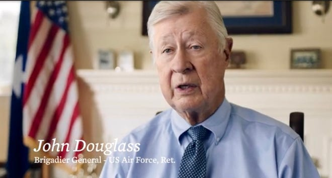 Retired Air Force Brig. Gen. John Douglass of Cocoa Beach is featured in a new ad for the Joe Biden presidential campaign.