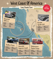 Select Car Leasing's map of some of the classic cars to go missing along the West Coast of the United States.