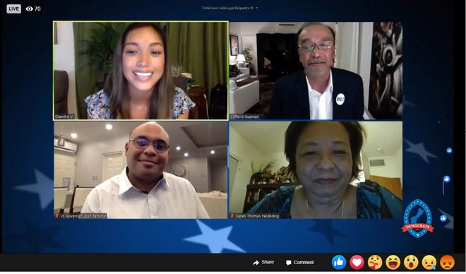 Democratic Party of Guam Virtual Candidate's Forum finished the second half of its slate of candidates via a Facebook Live show. Pictured are, from top left, co-hosts Deandra Villanueva and Clifford Guzman, and bottom, from left, Lt. Gov. Josh Tenorio and Sarah Thomas Nededog, chairwoman of the Democratic Party of Guam.