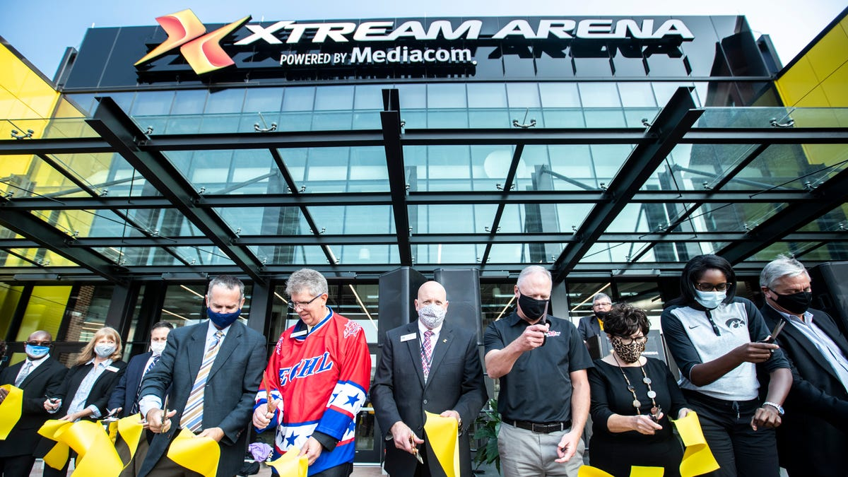 Photos: Xtream Arena hosts ribbon cutting event in Coralville's Iowa River Landing