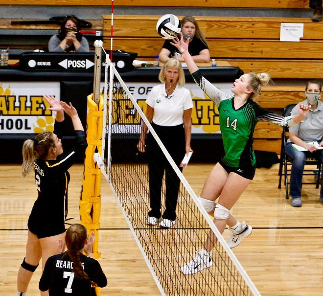 Huntington's Allison Basye hits the ball during a straight-set win over Paint Valley on Sept. 17, 2020.