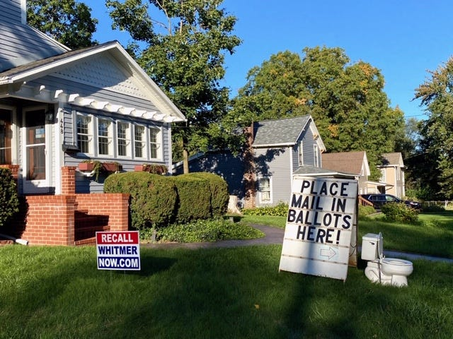 Ingham County Clerk Barb Byrum contends this display on West Columbia Street in Mason is inappropriate and possibly illegal.