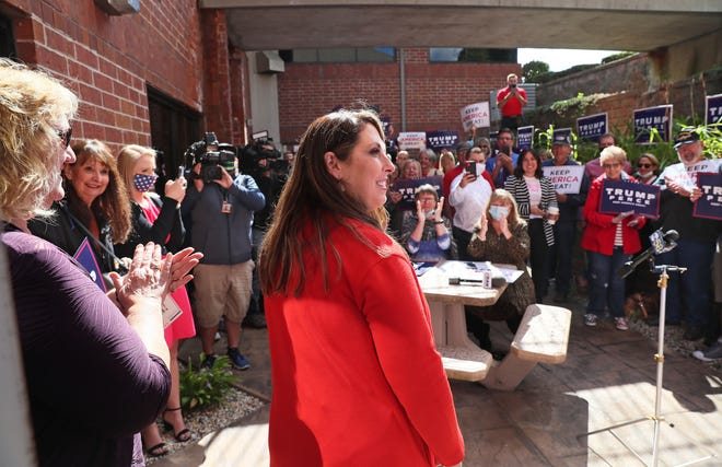 RNC Chairwoman Ronna McDaniel, center, is introduced at a campaign stop Friday in Germantown branded a MAGA Meet-up.  The event was held at the Washington County Trump Victory Headquarters.