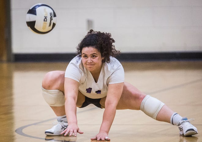 Kennadi Bradley digs a ball during Central's 3-0 win over Daleville at Muncie Central Thursday, Sept. 17, 2020.