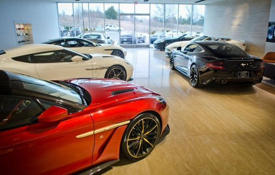The Aston Martin showroom at Carlock Automotive Group's Motorcars of Brentwood location in Brentwood, Tennessee.