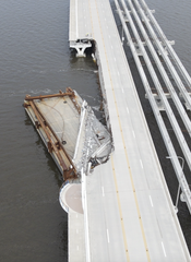 Aerial photos shot by a drone Friday for the Pensacola News Journal and USA TODAY Network show the extent of the damage to the Three Mile Bridge in Pensacola after Hurricane Sally.