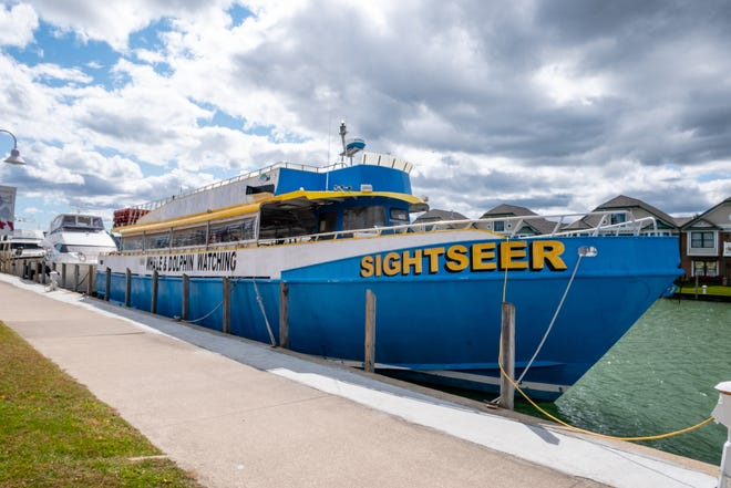 A ship formerly owned by a whale-watching company made a brief stop in Port Huron this week as it was on it's way to Chicago to be repainted. The boat was recently purchased by Group Z, LLC in Chicago, from The Sightseer Whale and Dolphin Cruises.