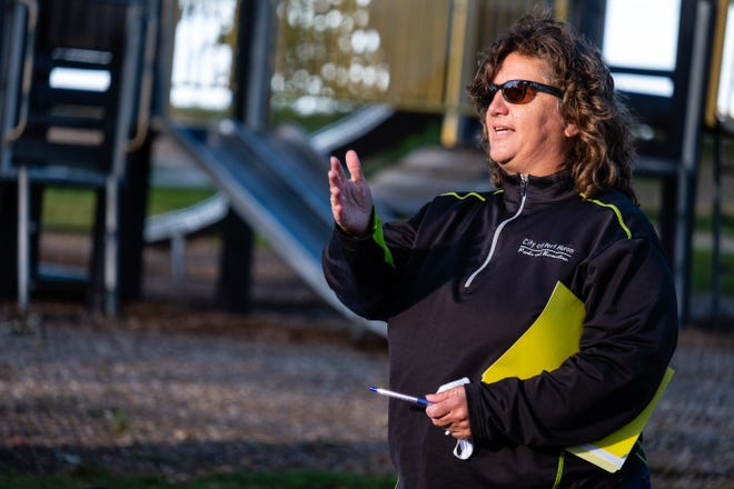 Parks and Recreation Director Nancy Winzer talks about improvements being made to Lighthouse Park during a neighborhood meeting Thursday, Sept. 17, 2020, at the park in Port Huron.