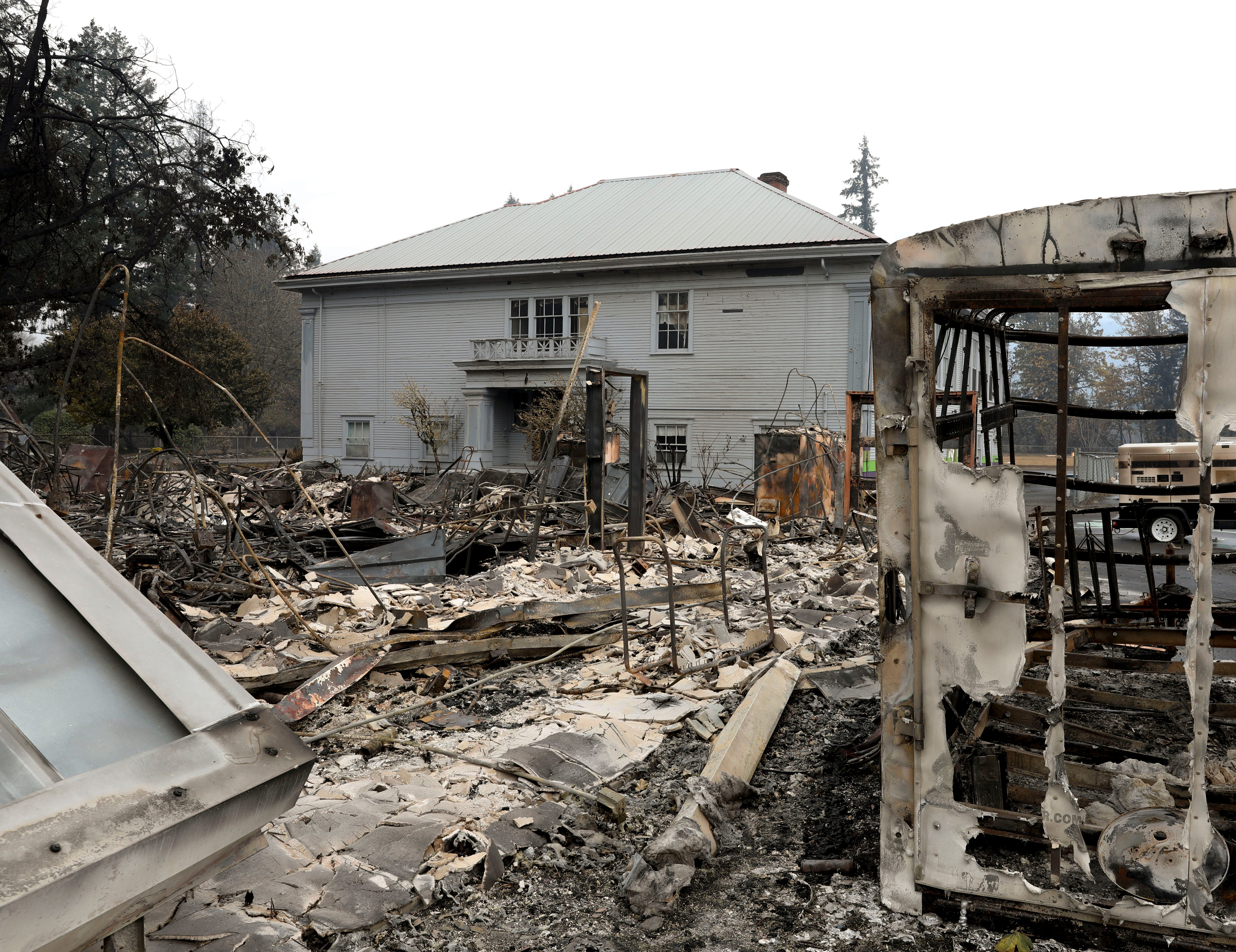 Damage caused by the Beachie Creek wildfire is seen at the Gates School on Sept. 18, 2020.