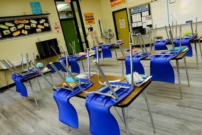 A classroom is ready for students Wednesday, Sept. 16, 2020, at Riverview Intermediate School in Sartell.