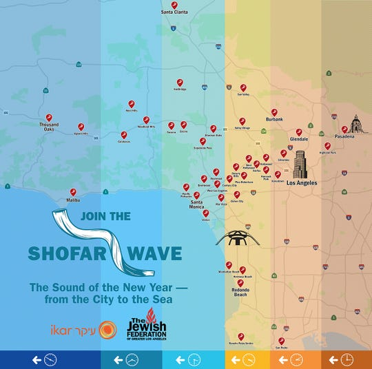The Jewish Federation of Los Angeles has organized the Shofar Wave, an event that invites people to sound the shofar at different parts of the city at different times on Sunday afternoon.