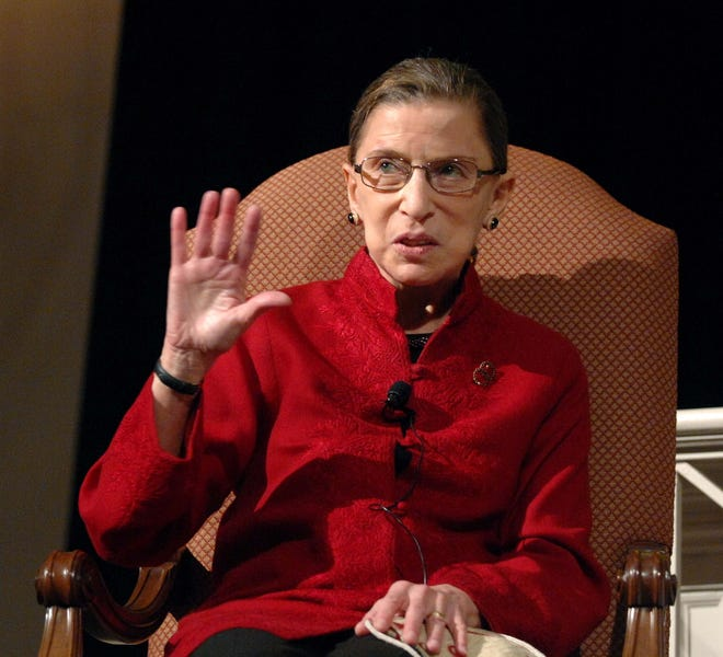 """Justice Ruth Bader Ginsburg, the first Jewish woman to be appointed to the Supreme Court, talks with filmmaker David Grubin in Washington about his PBS series """"The Jewish Americans"""" in 2008."""