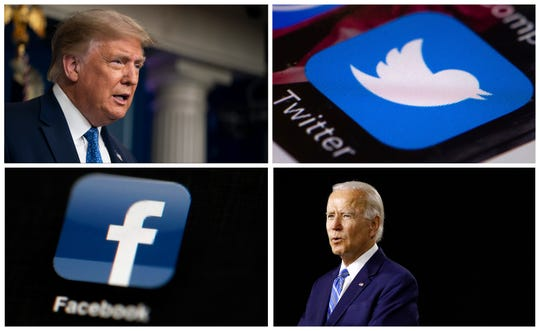 Pictured: President Donald Trump speaking during a news conference at the White House in July, the Twitter app,  Democratic presidential nominee, former Vice President Joe Biden, and the Facebook app.