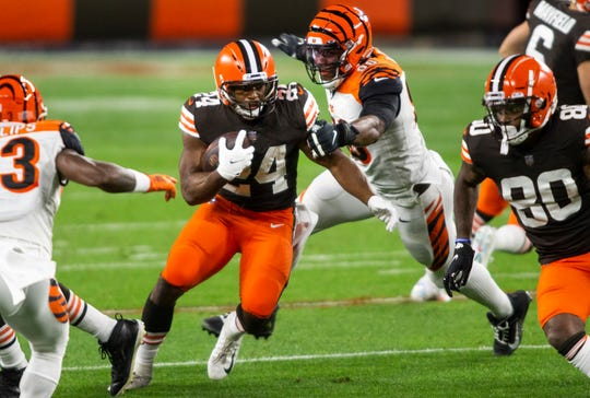 Browns running back Nick Chubb had 125 yards and 2 TDs rushing against the Bengals.