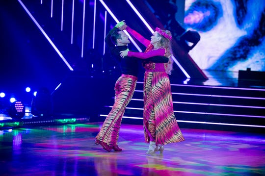 """Carole Baskin and her """"Dancing with the Stars"""" partner  Pasha Pashkov perform a tiger-themed paso doble."""