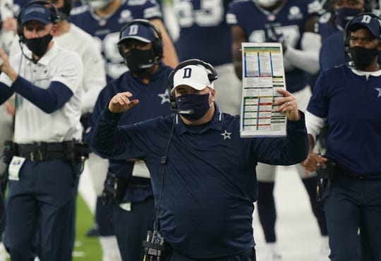 Dallas Cowboys head coach Mike McCarthy reacts against the Los Angeles Rams during the first half at SoFi Stadium.