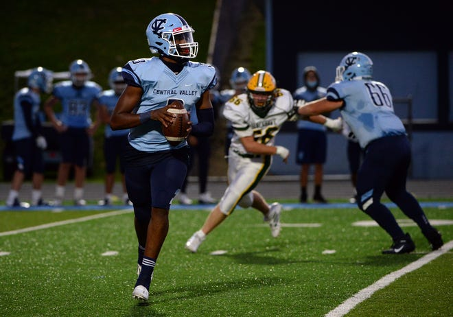 Central Valley QB Ameer Dudley looks downfield for a receiver to throw to during a game against Blackhawk earlier this season.