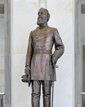 In this undated file image made available by the Architect of the Capitol, shows the statue of Confederate Gen. Edmund Kirby Smith in the U.S. Capitol in Washington. [Architect of the Capitol via AP]